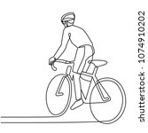 continuous line drawing cyclist ... | Shutterstock .eps vector #1074910202