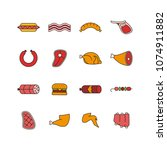 set of sixteen meat icons.... | Shutterstock .eps vector #1074911882