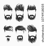 set of mens hairstyle with... | Shutterstock .eps vector #1074918035