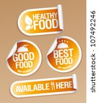Best Healthy Food stickers pack. - stock vector