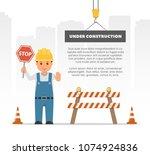 cartoon builder holding a stop...   Shutterstock .eps vector #1074924836