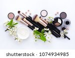 makeup brush and decorative... | Shutterstock . vector #1074934985