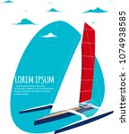 yacht club banner design with... | Shutterstock .eps vector #1074938585