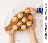 top view on homemade vanilla... | Shutterstock . vector #1074939116