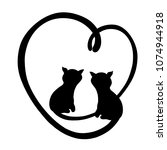 cats  heart and romance  logo | Shutterstock . vector #1074944918