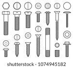 industrial screws bolts  nuts... | Shutterstock .eps vector #1074945182