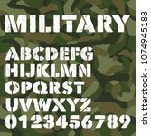 old military alphabet  bold... | Shutterstock .eps vector #1074945188