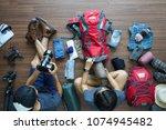 overhead view of traveler's... | Shutterstock . vector #1074945482