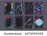 set of holographic brochure ... | Shutterstock .eps vector #1074949355