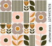 seamless pattern with floral... | Shutterstock .eps vector #1074957878