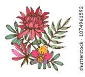 bouquet. flowers  leaves. hand...   Shutterstock .eps vector #1074961592