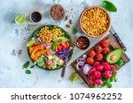 healthy balanced vegetarian... | Shutterstock . vector #1074962252