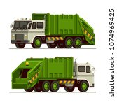 garbage truck waste vehicle... | Shutterstock .eps vector #1074969425