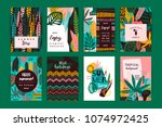 set of abstract creative... | Shutterstock .eps vector #1074972425