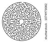 maze labyrinth. circular game... | Shutterstock .eps vector #1074973082