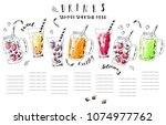 hand drawn summer fruit... | Shutterstock .eps vector #1074977762