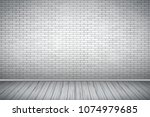 interior of white brick wall... | Shutterstock .eps vector #1074979685