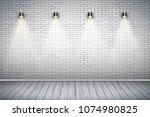 Interior Of White Brick Wall...