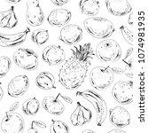 hand drawn seamless pattern.... | Shutterstock .eps vector #1074981935