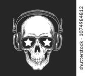 cool rock star skull wearing... | Shutterstock .eps vector #1074984812