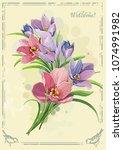 beautiful bouquet spring... | Shutterstock .eps vector #1074991982