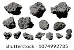 Group Of Asteroids Isolated On...