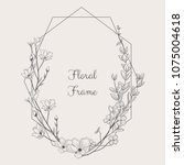black hand drawn floristic... | Shutterstock .eps vector #1075004618
