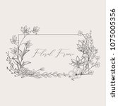 black hand drawn floristic... | Shutterstock .eps vector #1075005356