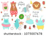 cute animals charachters... | Shutterstock .eps vector #1075007678