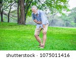 Small photo of Senior man suffering from sick stomach or stomachache and vomiting outdoor in garden park . old elderly male drunk hangover and puke