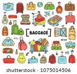 vector set with hand drawn... | Shutterstock .eps vector #1075014506