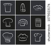 variety of chef hats  set of... | Shutterstock .eps vector #1075023176