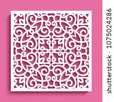 decorative square panel with... | Shutterstock .eps vector #1075024286
