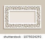 rectangle frame with ornamental ... | Shutterstock .eps vector #1075024292