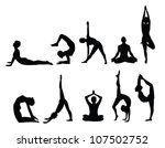 yoga pose silhouettes  in... | Shutterstock .eps vector #107502752