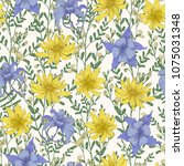 botanical seamless pattern with ... | Shutterstock .eps vector #1075031348