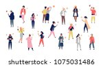 Crowd of young men and women holding smartphones and texting, talking, listening to music, taking selfie. Group of male and female cartoon characters with mobile phones. Flat vector illustration | Shutterstock vector #1075031486