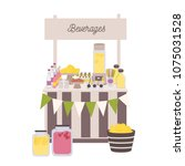 marketplace or counter with... | Shutterstock .eps vector #1075031528
