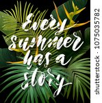 summer tropical poster with... | Shutterstock .eps vector #1075035782
