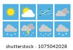 weather vector icons flat... | Shutterstock .eps vector #1075042028