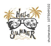 hello summer label isolated on...   Shutterstock .eps vector #1075049102