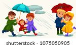 family husband and wife walking ... | Shutterstock .eps vector #1075050905