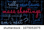 mass shootings word cloud on a... | Shutterstock .eps vector #1075052075