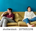 mother and teenage daughter... | Shutterstock . vector #1075052198
