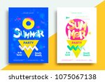 summer party posters design... | Shutterstock .eps vector #1075067138