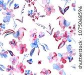 floral meadow pattern flowers... | Shutterstock . vector #1075068596