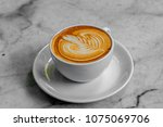 the hot coffee art in the white ... | Shutterstock . vector #1075069706