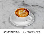 the hot coffee art in the white ... | Shutterstock . vector #1075069796