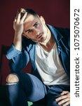portrait of handsome sexy man...   Shutterstock . vector #1075070672