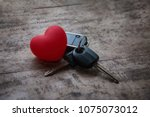love travel concept. red heart... | Shutterstock . vector #1075073012